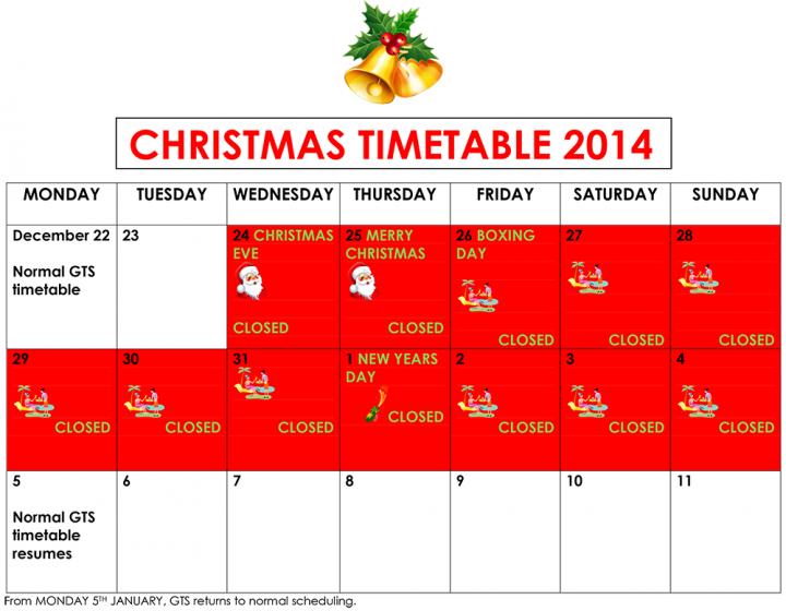 CHRISTMAS TIMETABLE 2014 A4