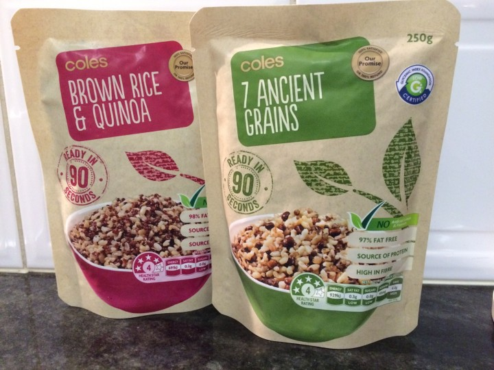 Brown rice and quinoa and 7 ancient grains, two options for quick and easy sides